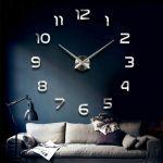 Nástěnné 3D hodiny, 90 cm - Chrom