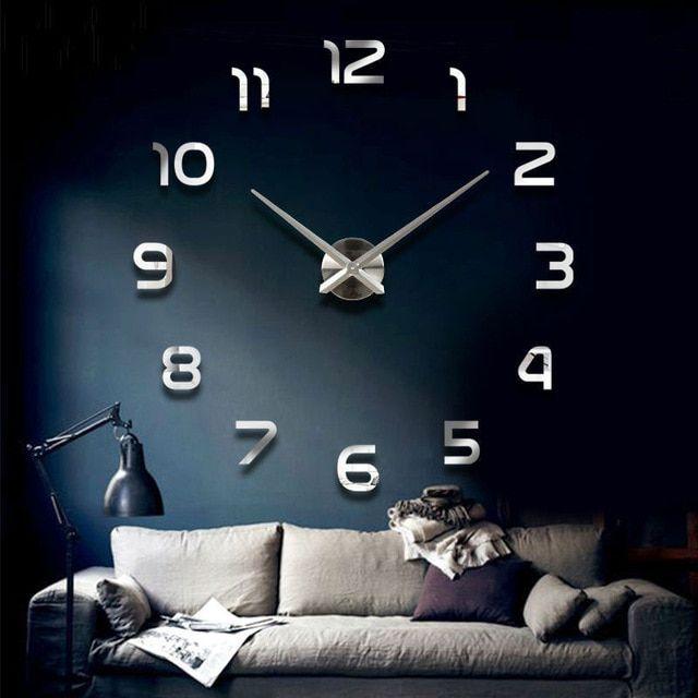 Nástěnné 3D analogové hodiny Modern, 120 cm - Chrom