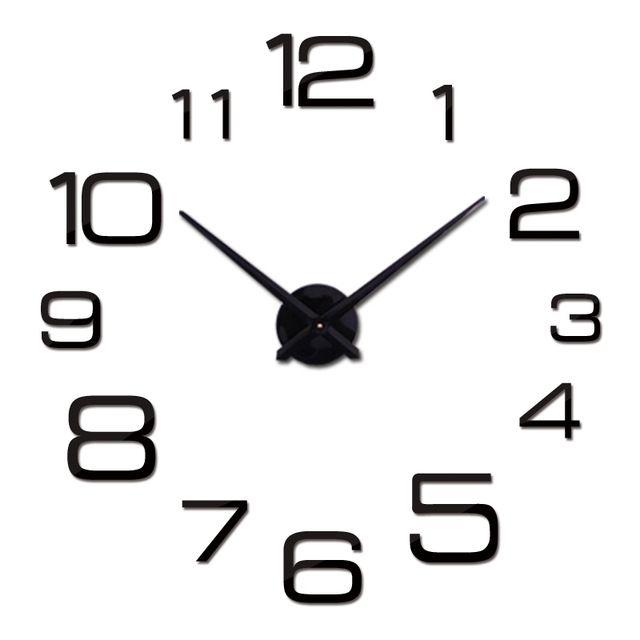Nástěnné 3D analogové hodiny New Diy, 90 cm - Černé