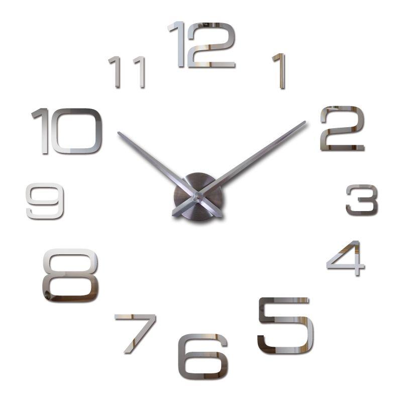 Nástěnné 3D analogové hodiny New Diy, 90 cm - Chrom