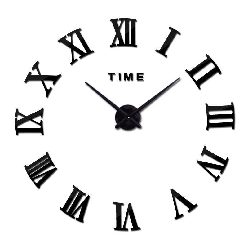 Nástěnné 3D analogové hodiny Real Europe, 90 cm - Černé