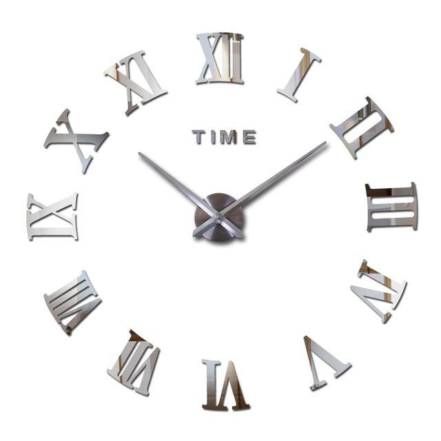 Nástěnné 3D analogové hodiny Real Europe, 90 cm - Chrom