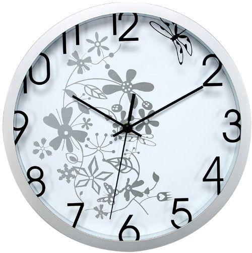 Nástěnné analogové hodiny, 30 cm, květinový motiv, bílostříbrné Methodo