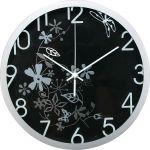 Nástěnné hodiny, 30 cm, černo-stříbrné