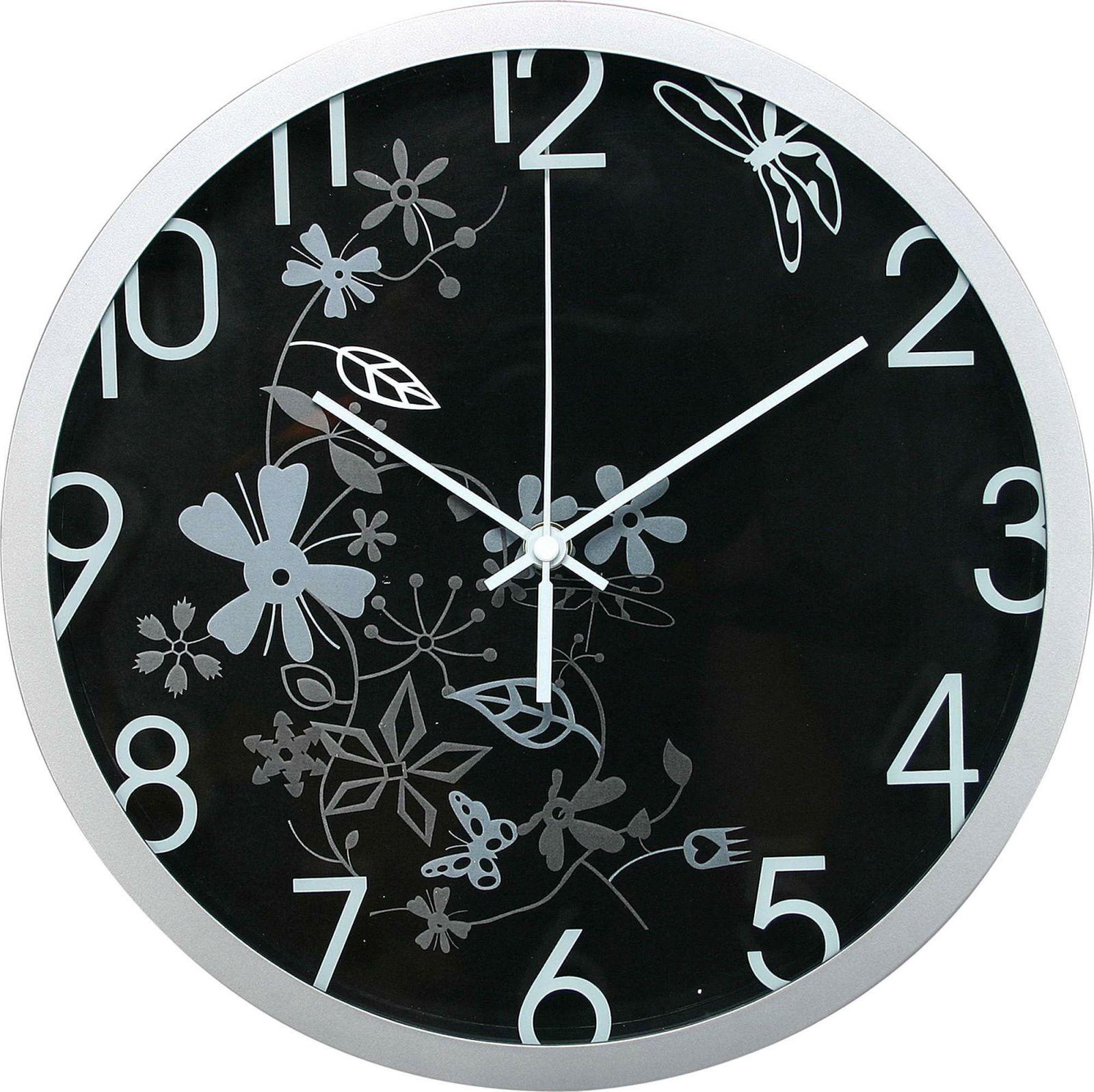 Nástěnné analogové hodiny, 30 cm, květinový motiv, černo-stříbrné Methodo