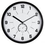 Nástěnné hodiny, 30 cm, s teploměrem, černé