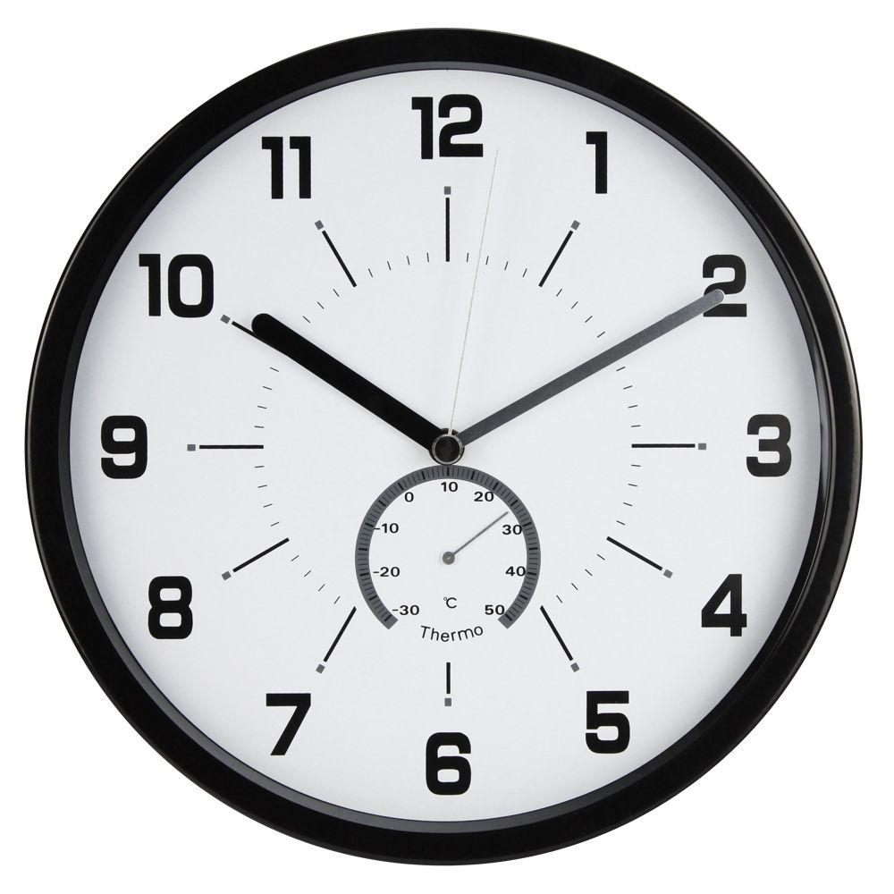 Nástěnné analogové hodiny, 30 cm, s teploměrem, černé Methodo