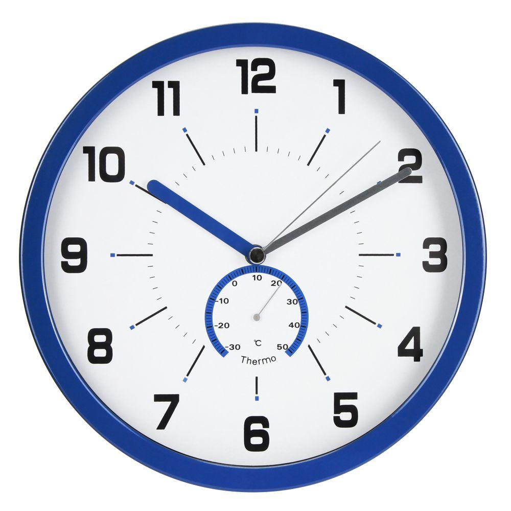 Nástěnné hodiny, 30 cm, s teploměrem, modré