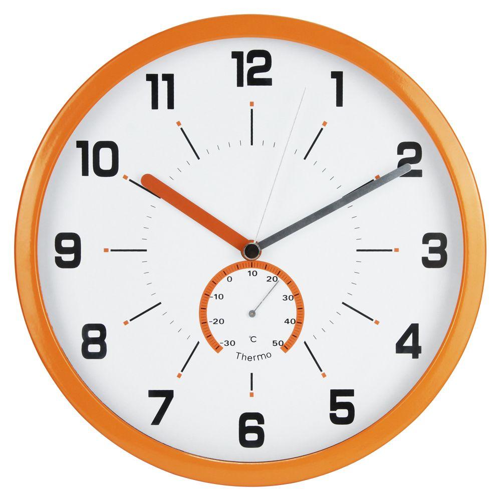 Nástěnné hodiny, 30 cm, s teploměrem, oranžové