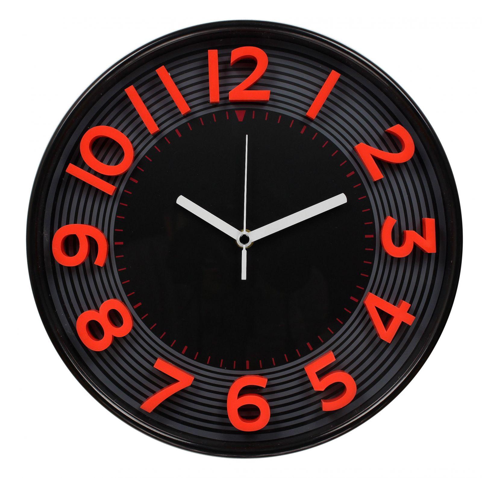 Nástěnné analogové hodiny 3D, 30 cm, červeno-černé
