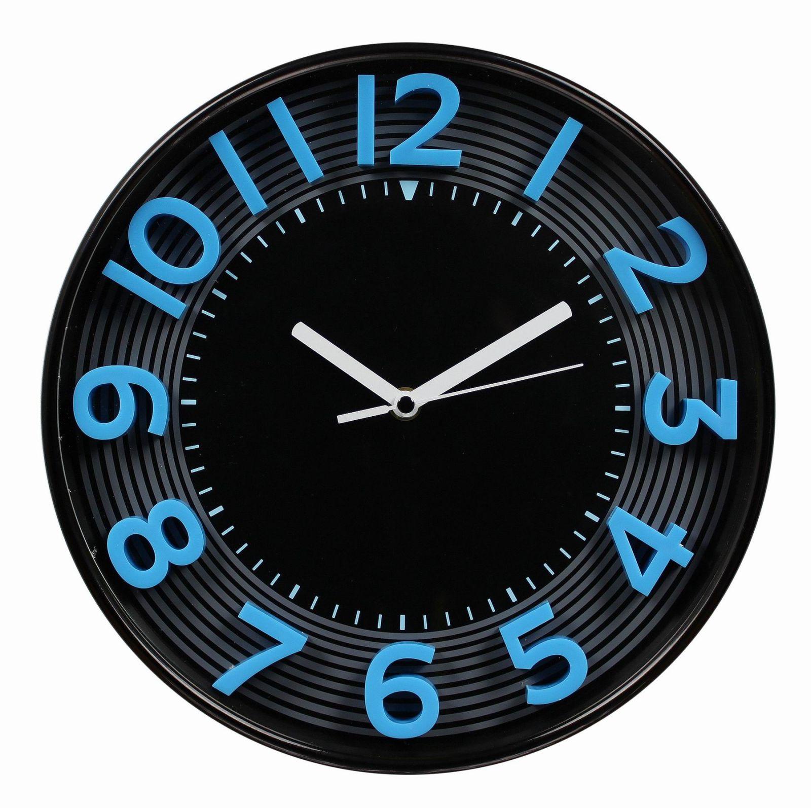 Nástěnné analogové hodiny 3D, 30 cm, modro-černé