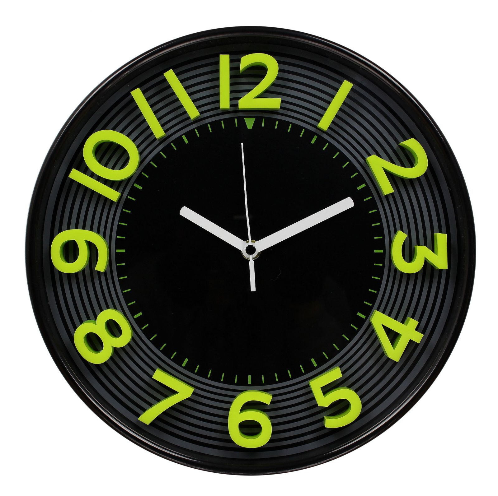 Nástěnné analogové hodiny 3D, 30 cm, zeleno-černé