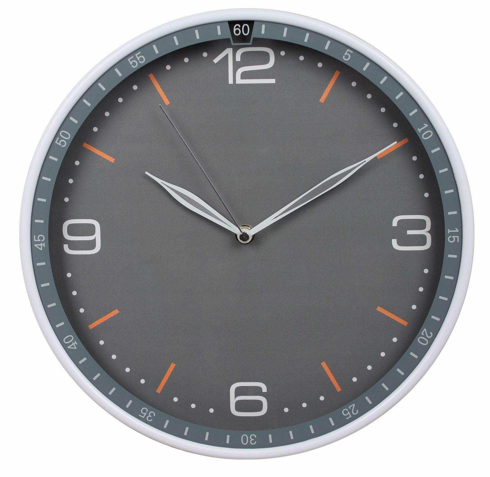 Nástěnné analogové hodiny Classic, 30 cm, stříbrno-šedé
