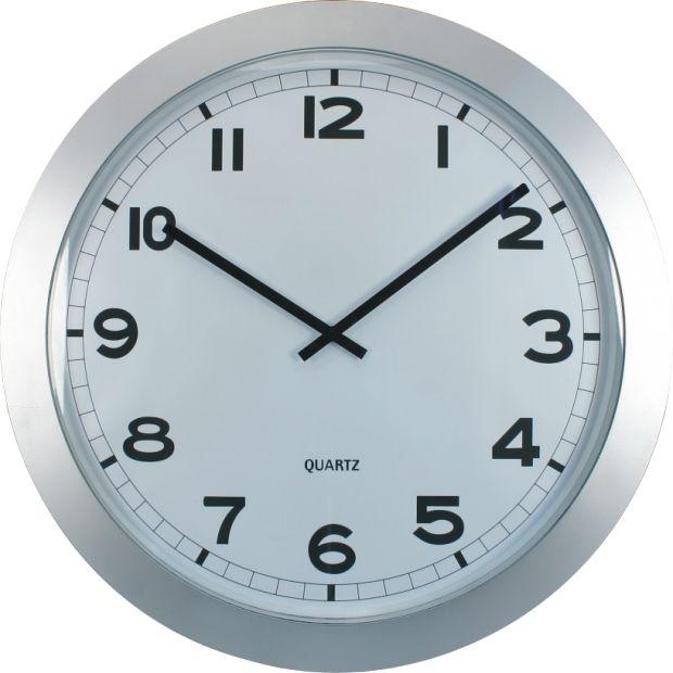 Nástěnné hodiny XXL, 60 cm, stříbrné