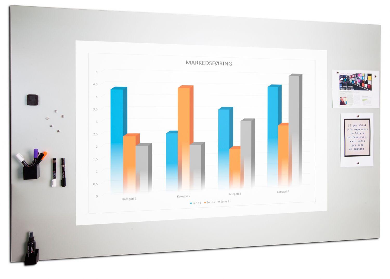 Projekční skleněná magnetická tabule, 200x120 cm, Bílá