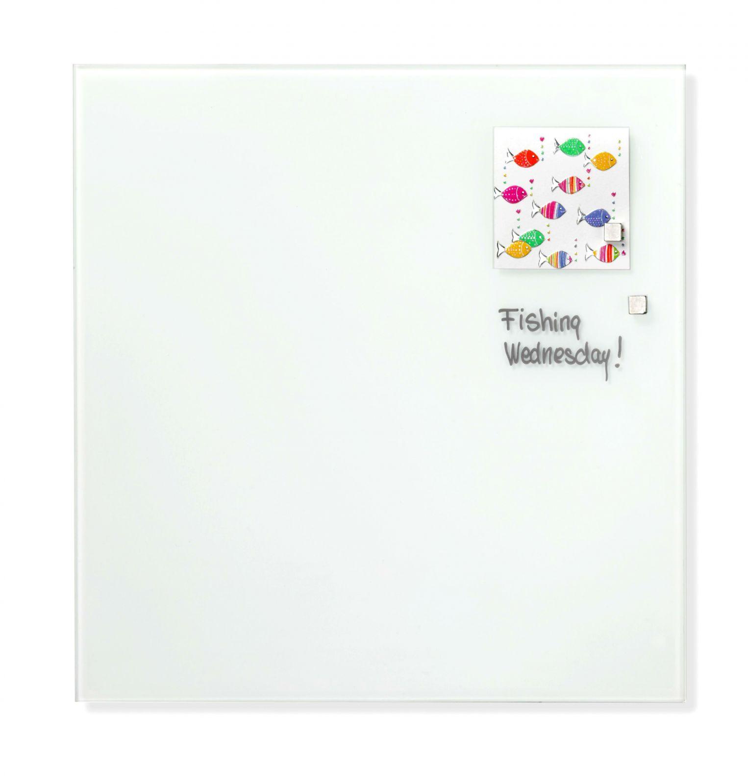 Skleněná magnetická tabule, 35x35, Bílá