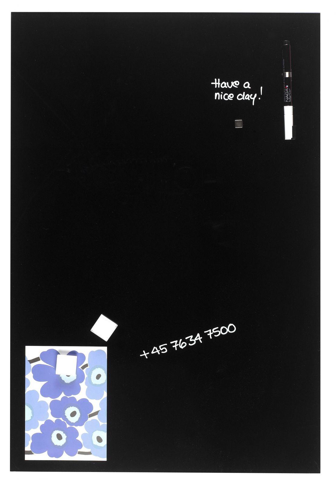 Skleněná magnetická tabule, 40x60 cm, Černá