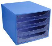 Zásuvkový box, 4 zásuvky, modro-modrý