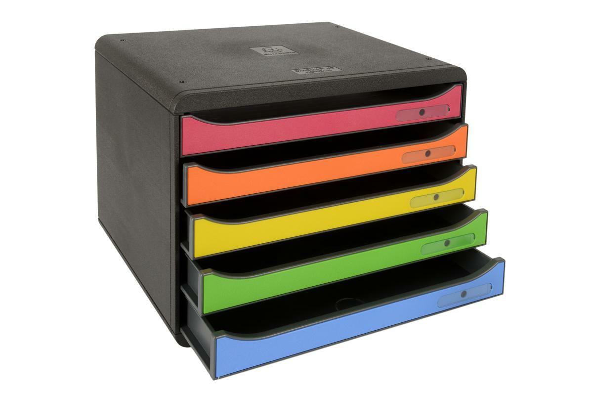Zásuvkový box, A4+, 5 zásuvek, černá/mix duhových barev Exacompta