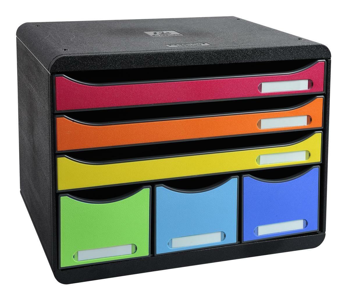 Zásuvkový box, A4+, 6 přihrádek, duhový Exacompta