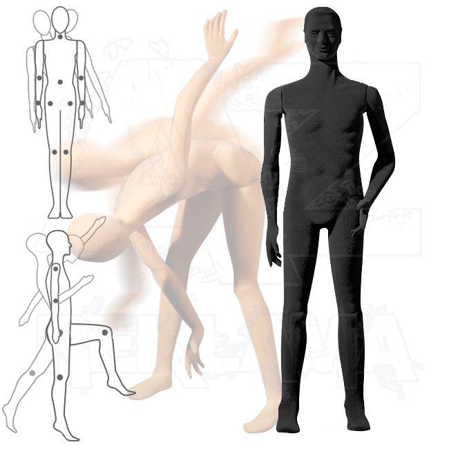 Pánská Pohybovatelná figurína - Černá s prolisovanými vlasy