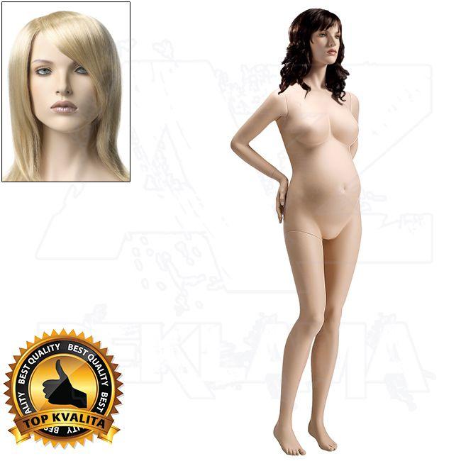 Těhotná figurína s hlavou pro paruku - Tělová s make-up póza 3