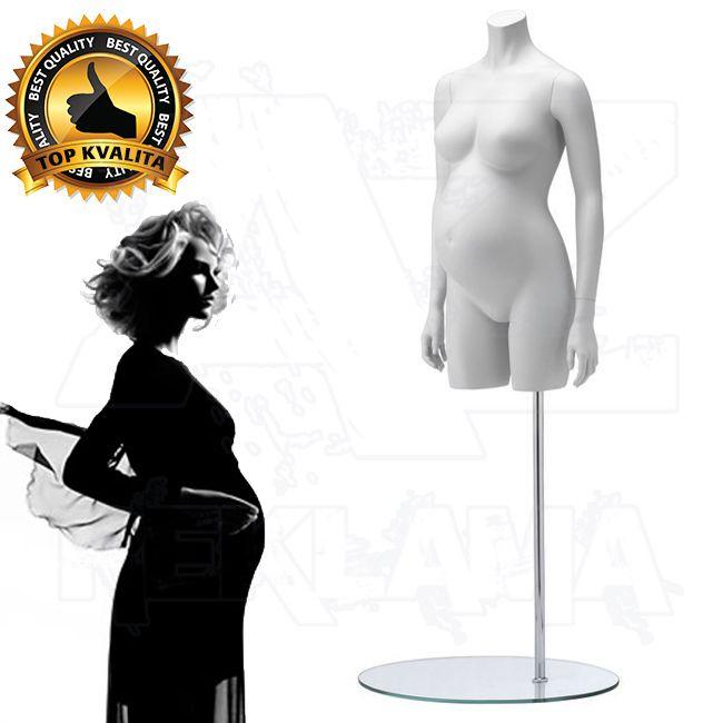 Těhotné torzo střední část bez hlavy - Bílá póza 1