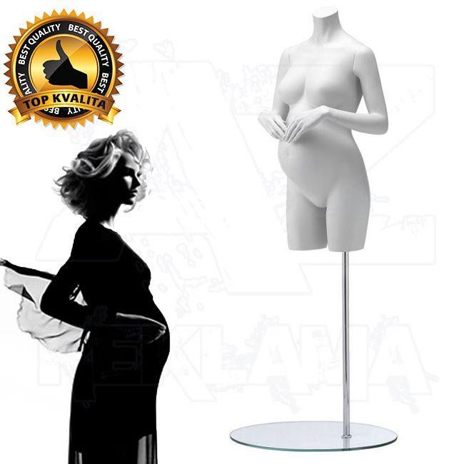 Těhotné torzo střední část bez hlavy - Bílá póza 2