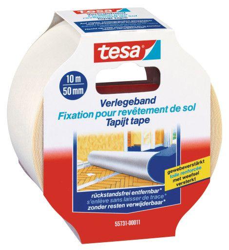Kobercová páska, odstranitelná, 10 m x 50 mm, s výztuží, bílá, balení 6 ks tesa