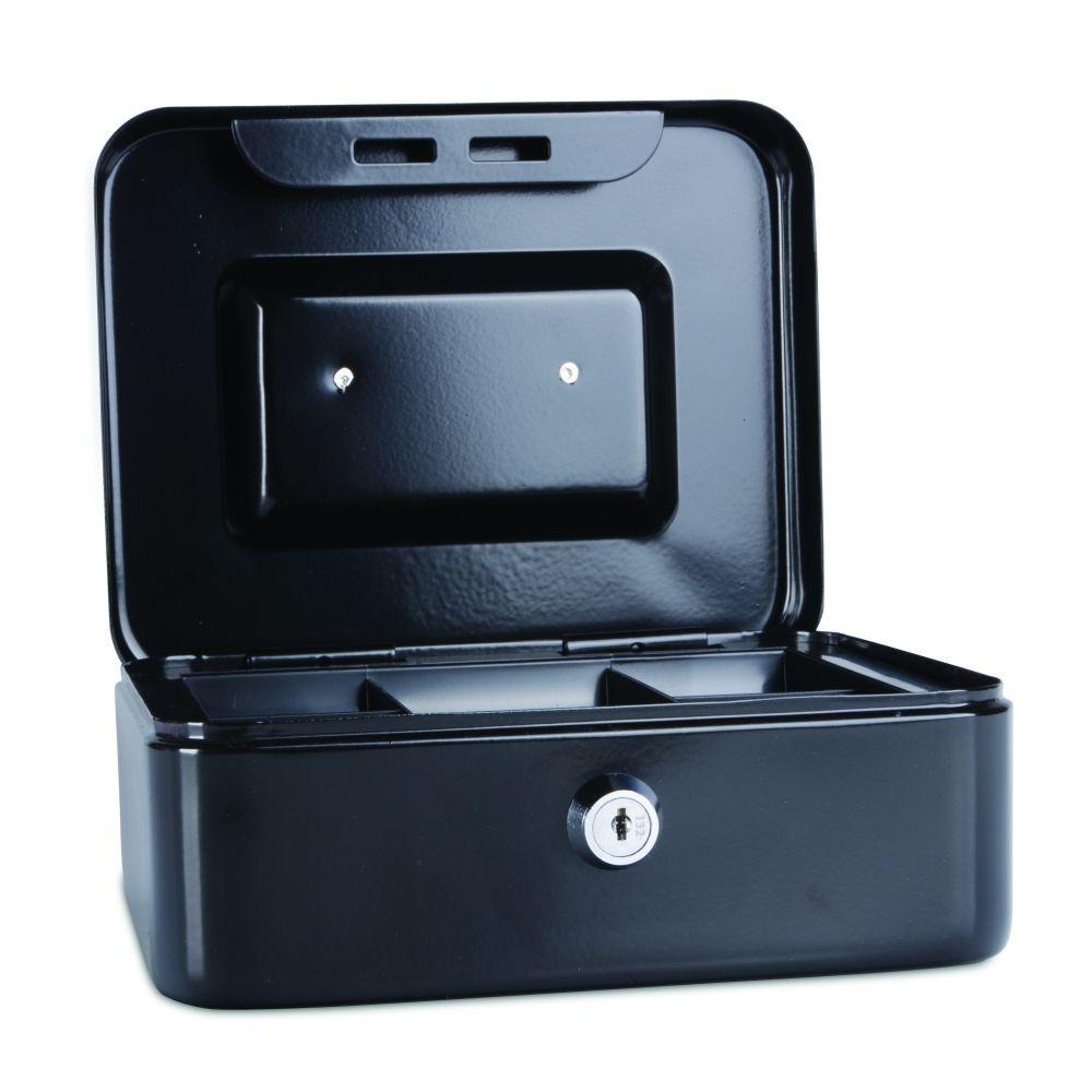 Kovová pokladnička, 200x160x90 mm, černá DONAU