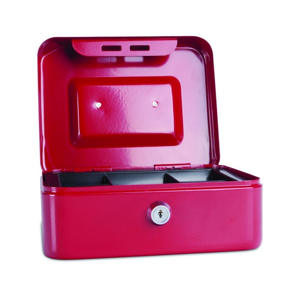 Kovová pokladnička, 200x160x90 mm, červená DONAU