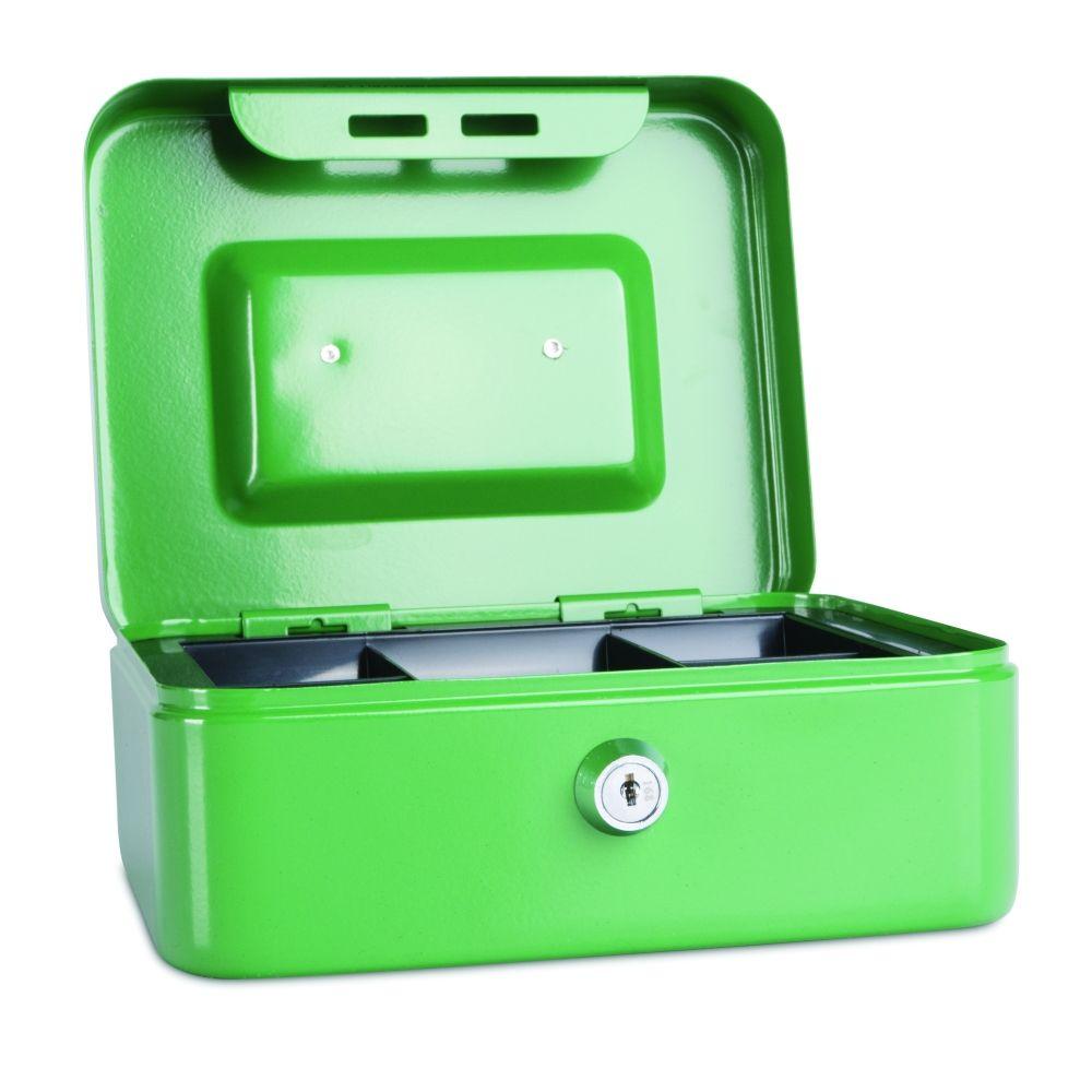 Kovová pokladnička, 200x160x90 mm, zelená DONAU