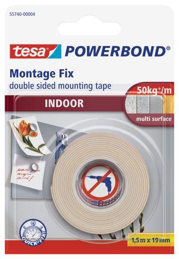 Montážní pěnová páska interiérová, 1,5 m x 19 mm, oboustranná, bílá, balení 6 ks tesa