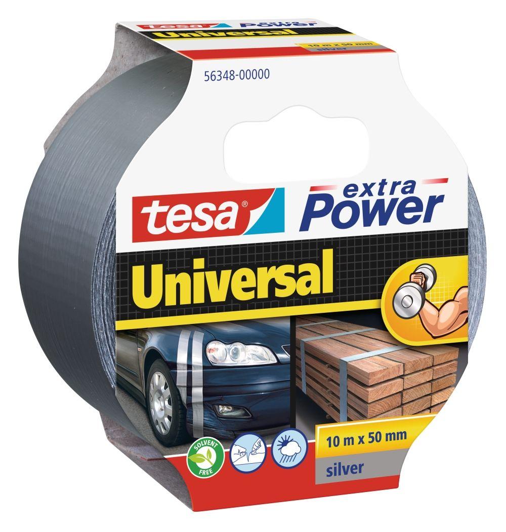 Opravná páska Extra Power Universal, 10 m x 50 mm, textilní, silně lepicí, stříbrná, balení