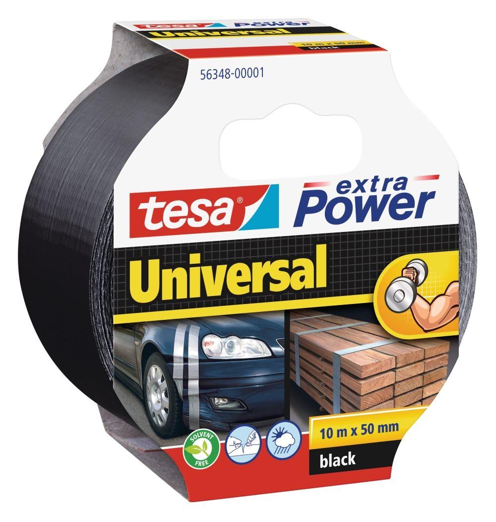 Opravná páska Extra Power Universal, 10 m x 50 mm, textilní, silně lepicí, černá tesa