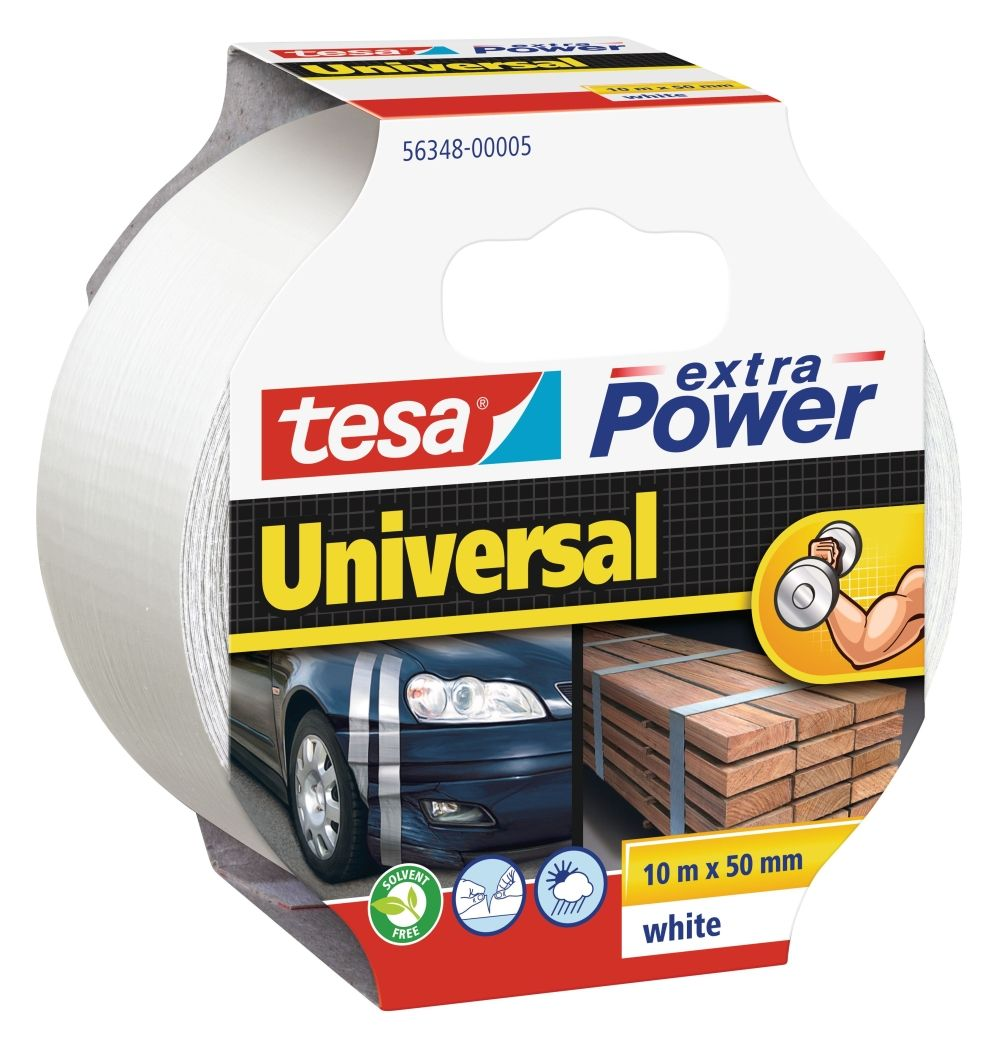 Opravná páska Extra Power Universal, 10 m x 50 mm, textilní, silně lepicí, bílá, balení 6 ks