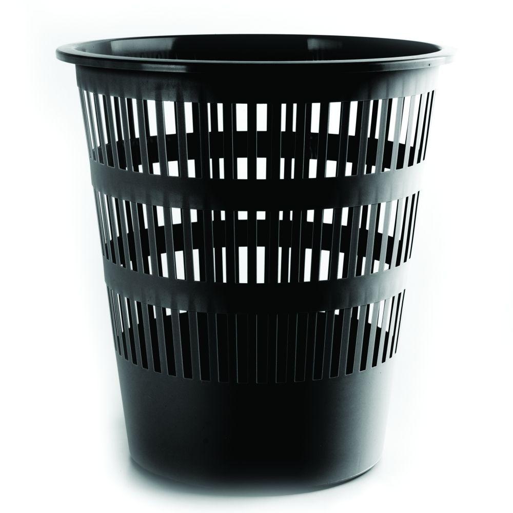 Plastový odpadkový koš perforovaný, 12 litrů, černý