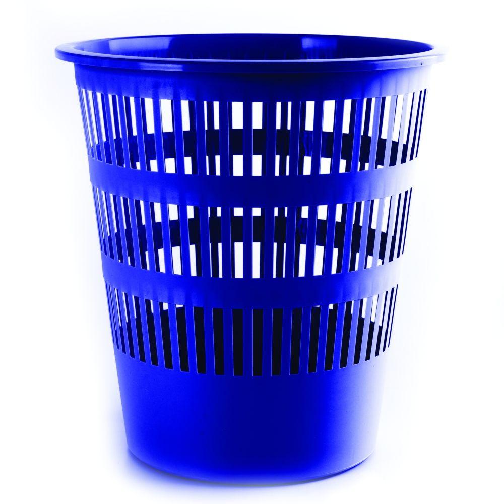 Plastový odpadkový koš perforovaný, 12 litrů, modrý