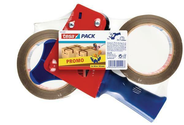 Ruční odvíječ balicí pásky, zdarma: 2 ks bal. pásky 66 m x 50 mm tesa