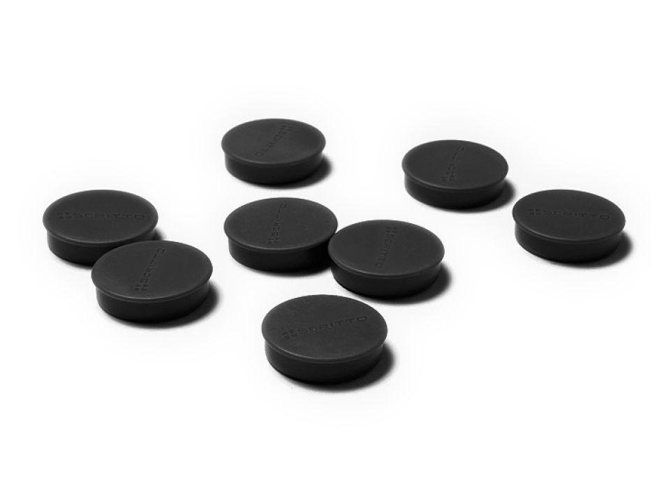 Sada 24ks magnetů na nástěnky a vitríny SCRITTO průměr 35mm Černé barvy
