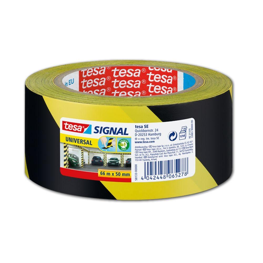 Značkovací lepící páska pro dočasné značení, 66 m x 50 mm, PP, žlutočerná, balení 6 ks tesa