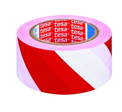 Značkovací páska pro trvalé značení, 33 m x 50 mm, PVC, červeno-bílá tesa