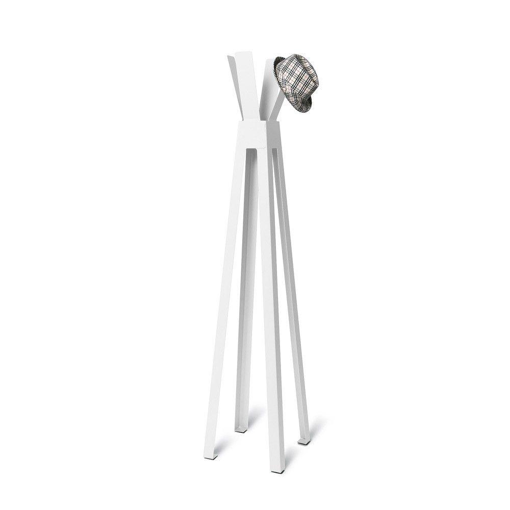 Volně stojící lakovaný kovový designový věšák, Bílý
