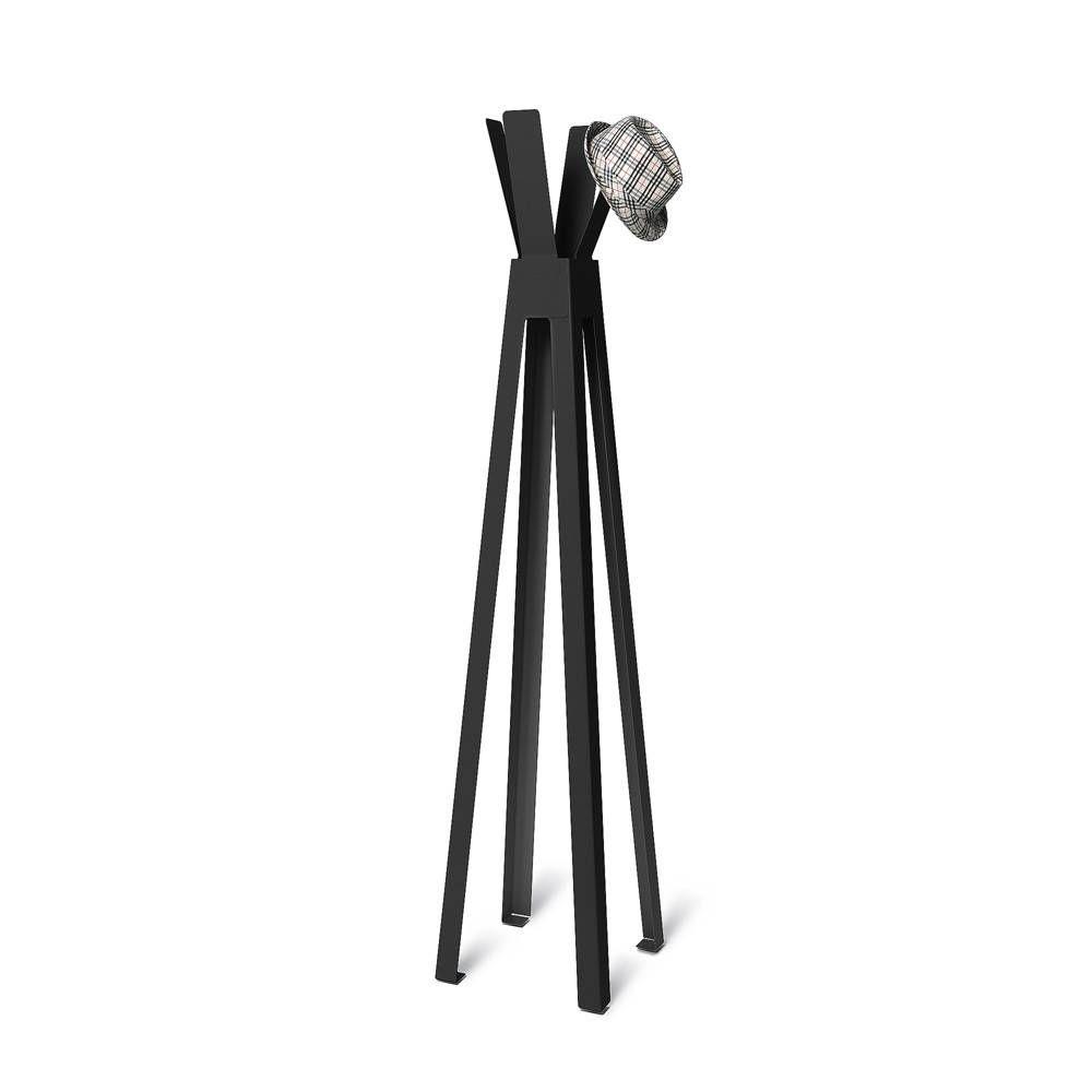 Volně stojící lakovaný kovový designový věšák, Černý