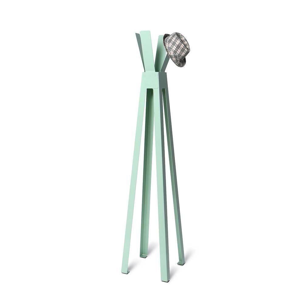 Volně stojící lakovaný kovový designový věšák, Zelený