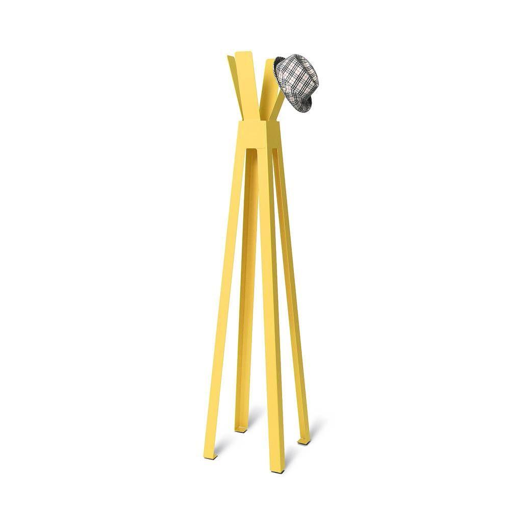 Volně stojící lakovaný kovový designový věšák, Žlutý