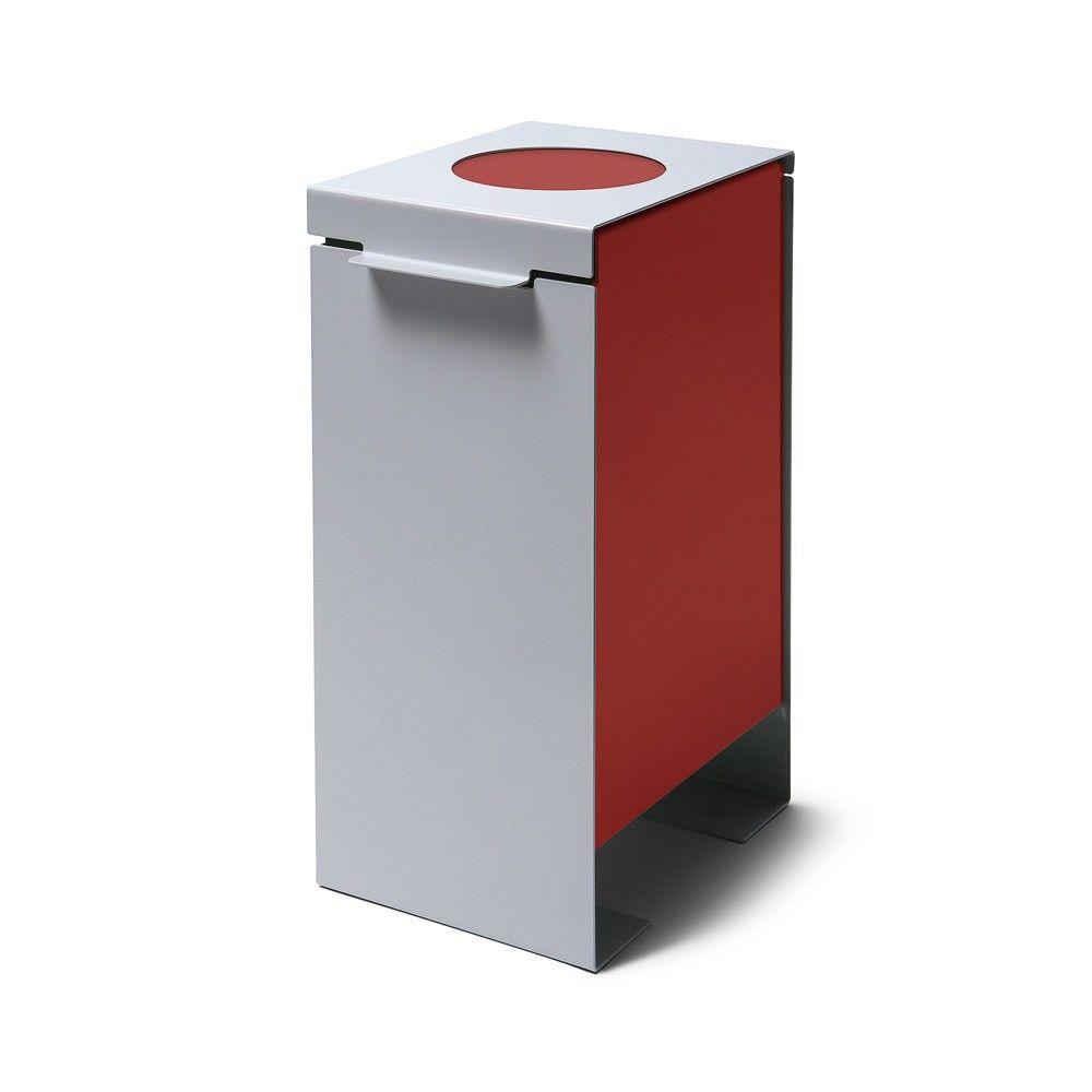 Kovový odpadkový koš na tříděný odpad, Červený