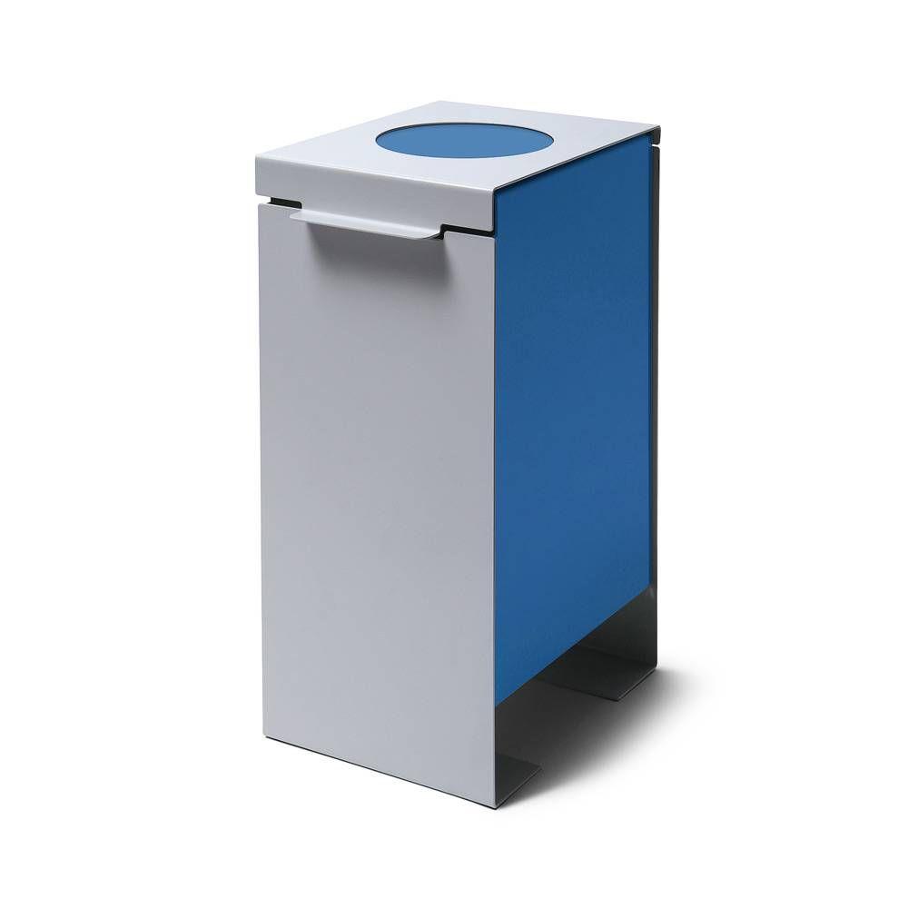 Kovový odpadkový koš na tříděný odpad, Modrý