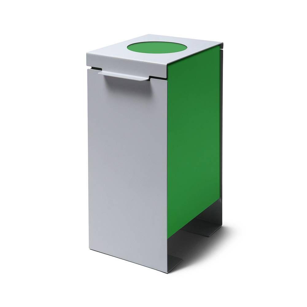 Kovový odpadkový koš na tříděný odpad, Zelený