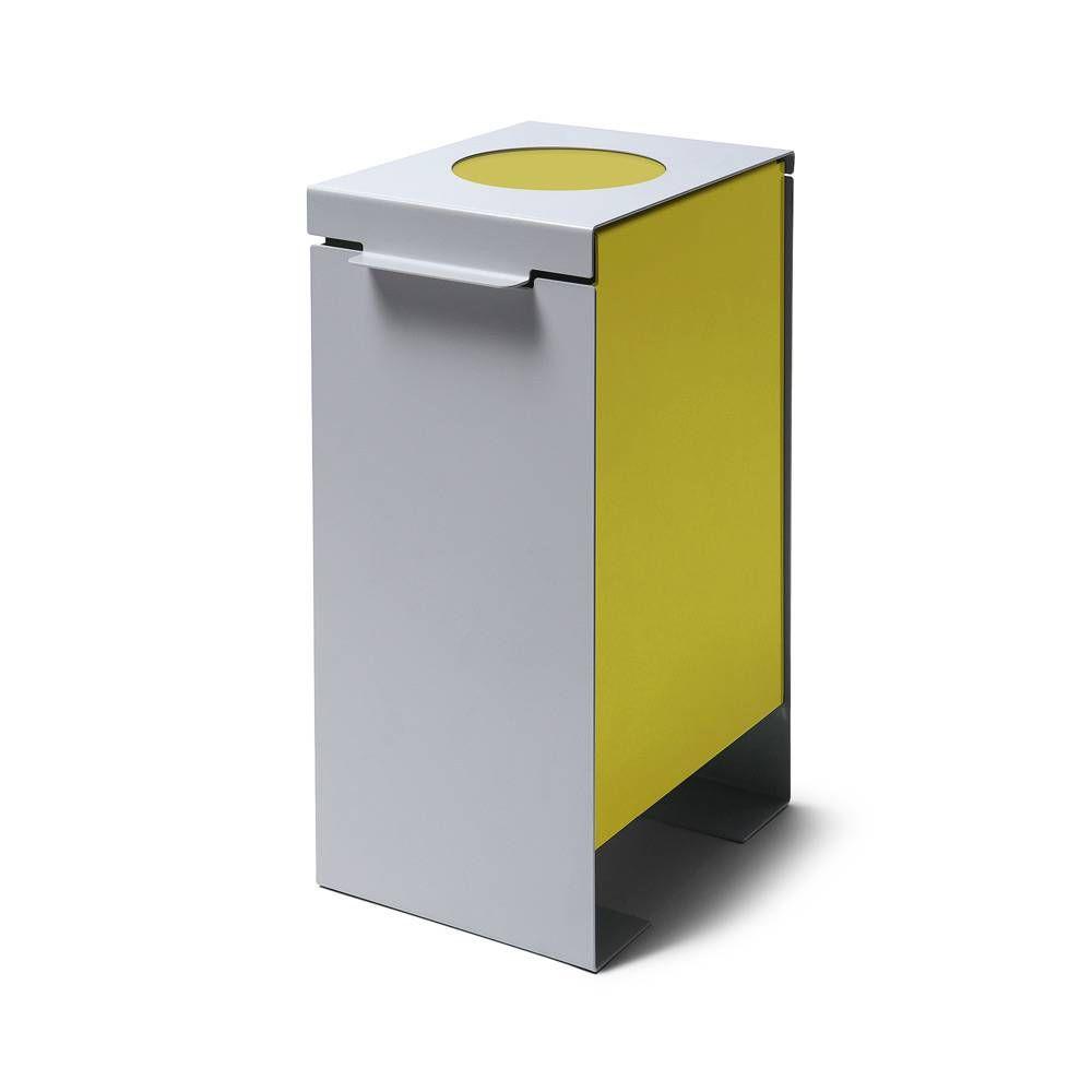 Kovový odpadkový koš na tříděný odpad, Žlutý